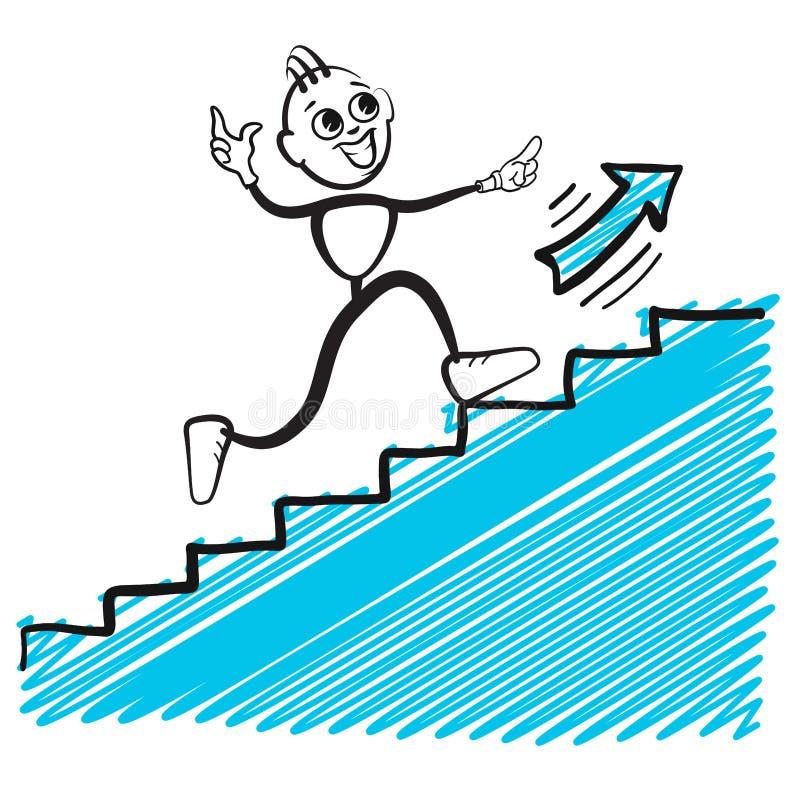 Affärsman som hoppar upp stock illustrationer