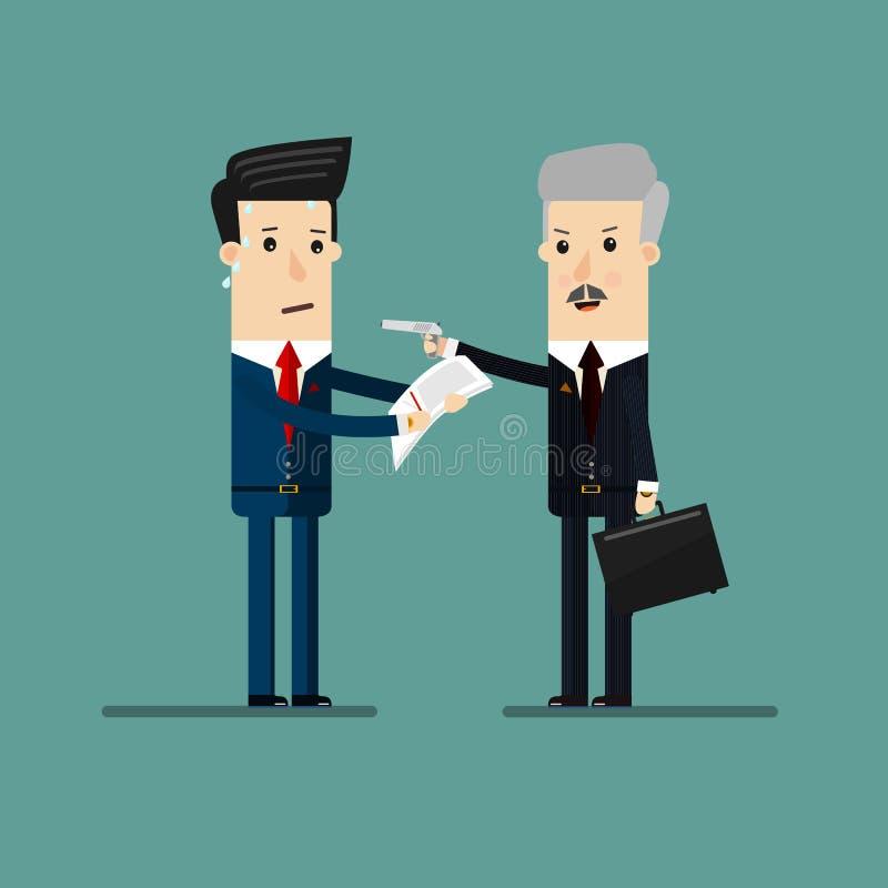 Affärsman som hotar med ett vapen och en exportdokumentation från affärsmän, för utpressning eller utpressning Affär royaltyfri illustrationer