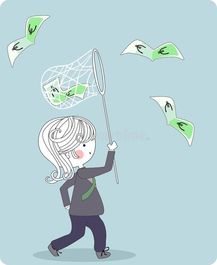 affärsman som jagar euros stock illustrationer