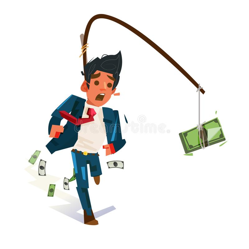 Affärsman som jagar för pengar Pengarfällabegrepp arbete hårt för royaltyfri illustrationer