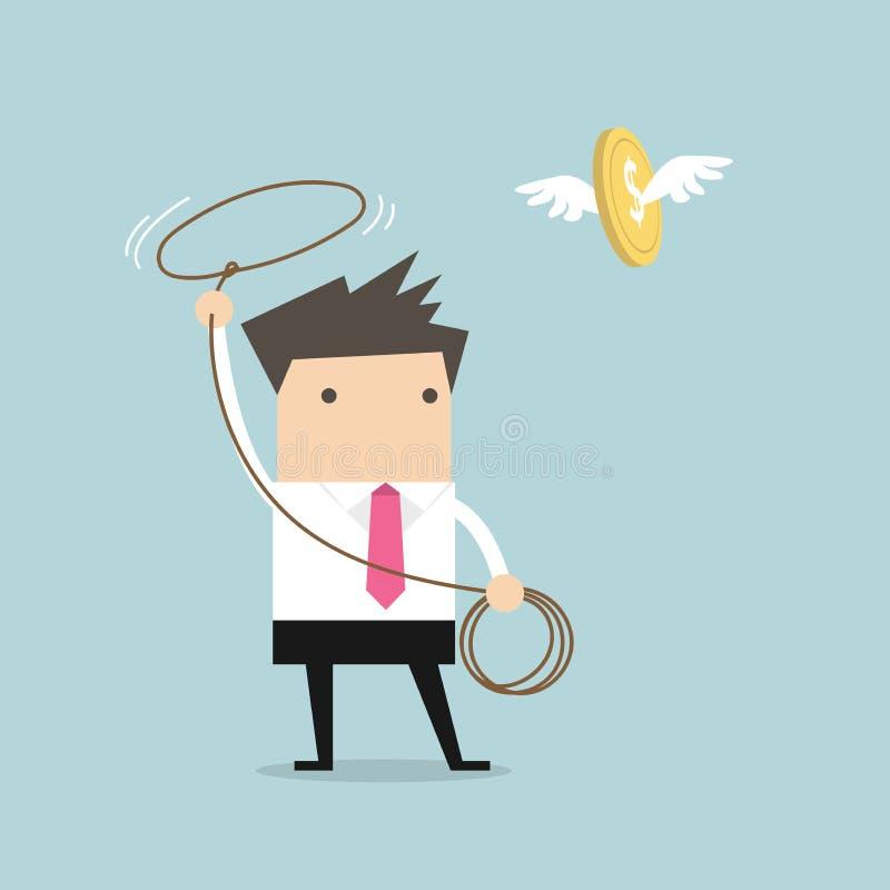 Affärsman som jagar flygpengar vid repet, finansiellt begrepp vektor illustrationer