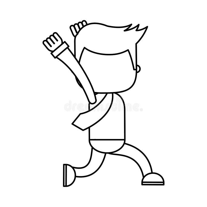 Affärsman som kör den roliga teckensymbolen stock illustrationer