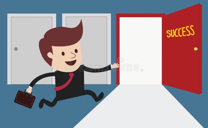 Affärsman som kör till framgångdörren vektor illustrationer