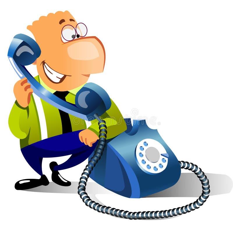 affärsman som kallar att le för telefon royaltyfri illustrationer