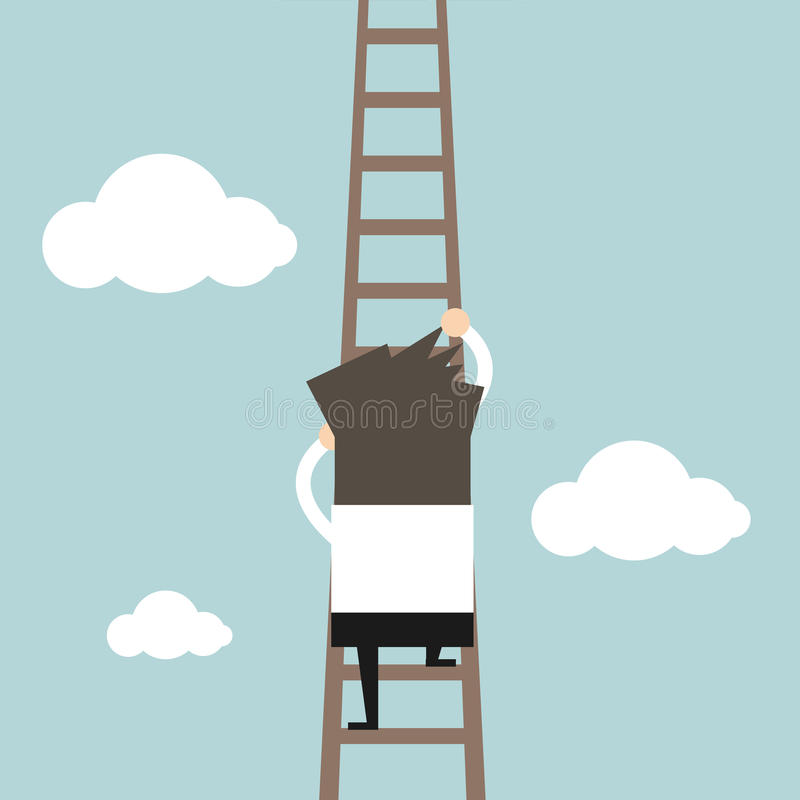 Affärsman som klättrar stegen stock illustrationer