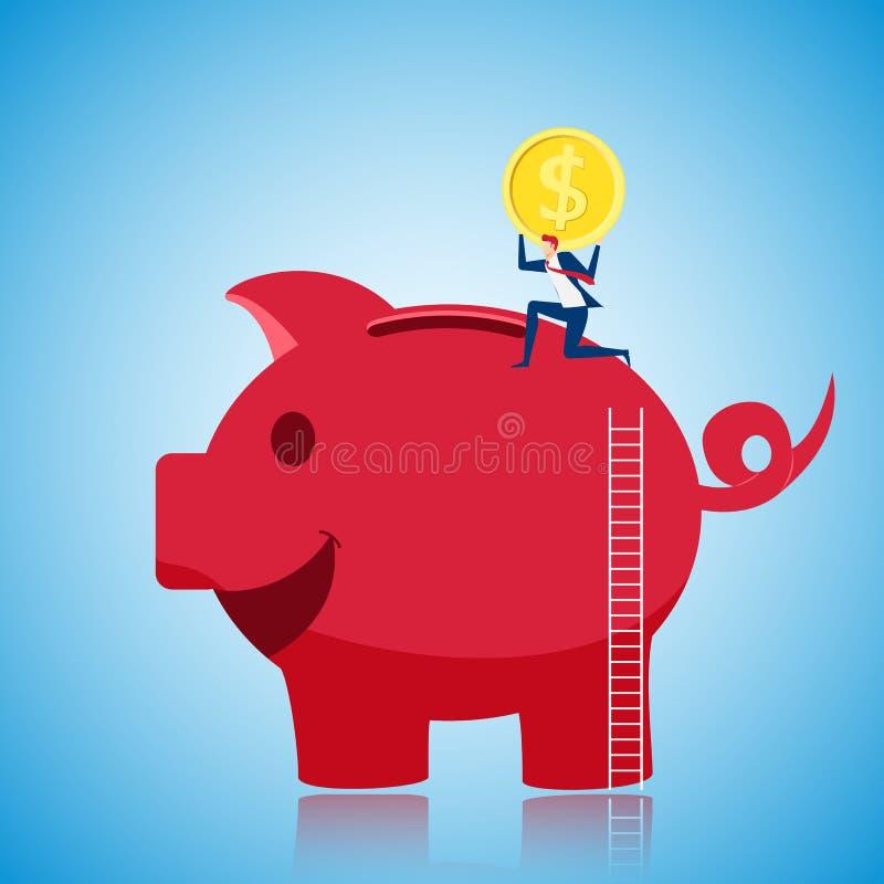 Affärsman som klättrar till överkanten av den jätte- spargrisen och sätter det guld- myntet för att spara pengar coins sparande f vektor illustrationer