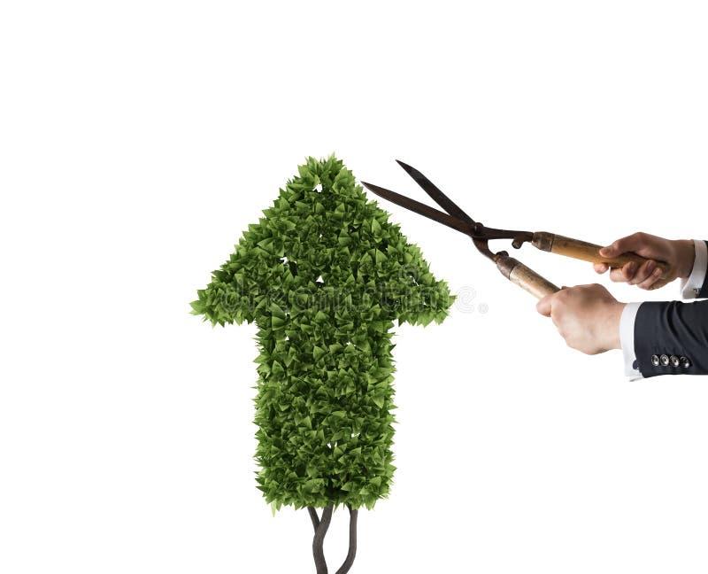 Affärsman som klipper och justerar en växt som formas som en pilstatistik Begrepp av det startup företaget framförande 3d arkivfoto