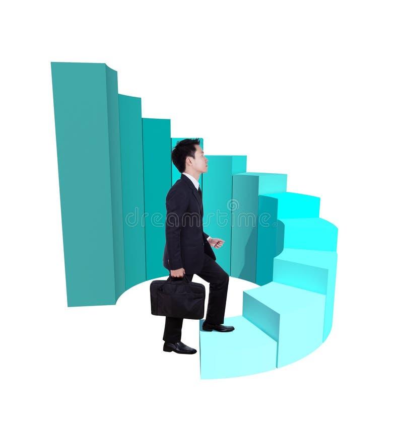 Affärsman som kliver framåtriktat på att växa den runda grafen för stång 3d royaltyfri illustrationer