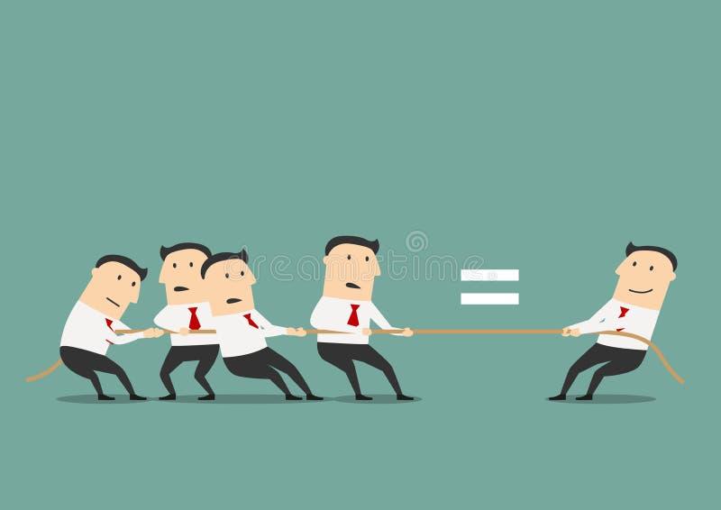 Affärsman som konkurrerar med gruppen av affärsmän stock illustrationer