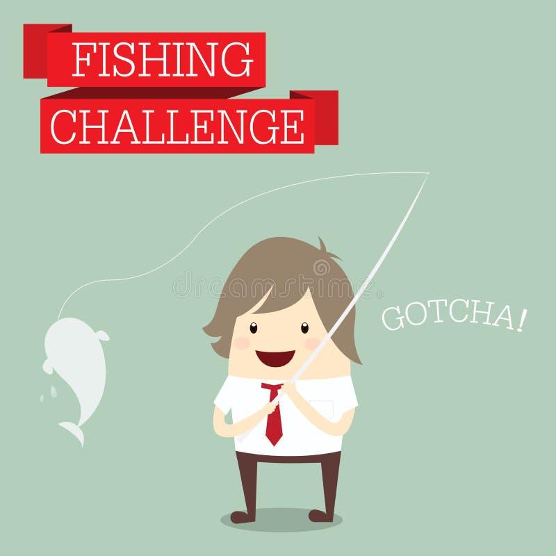 Affärsman som kopplar av och fångar fisken med ord royaltyfri illustrationer