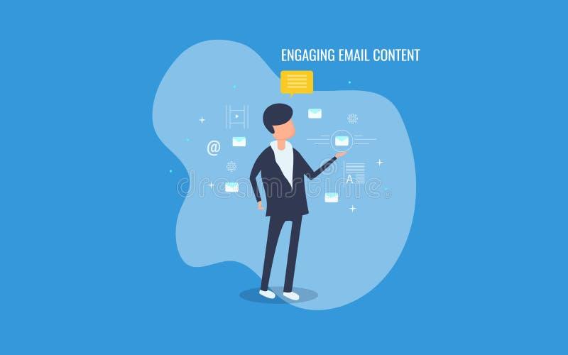 Affärsman som kopplas in med emailmarknadsföringsstrategi, kopplande in emailinnehåll, digital marknadsföring Plant designvektorb vektor illustrationer