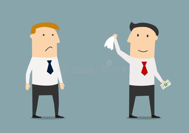 Affärsman som lämnar hans konkurrent utan pengar royaltyfri illustrationer