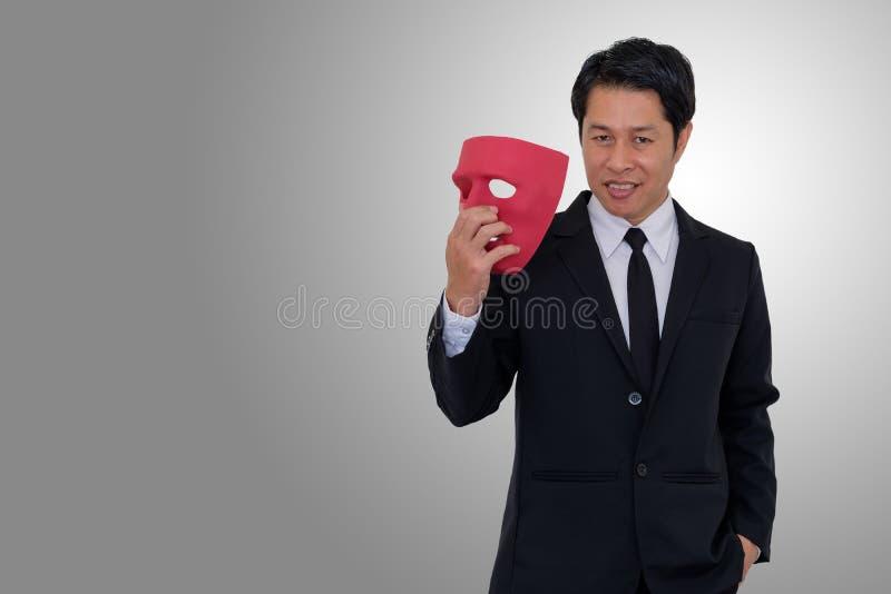 Affärsman som les med hyckleri royaltyfri fotografi