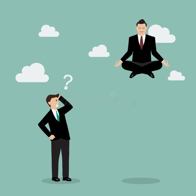 Affärsman som mediterar över hans konkurrent stock illustrationer