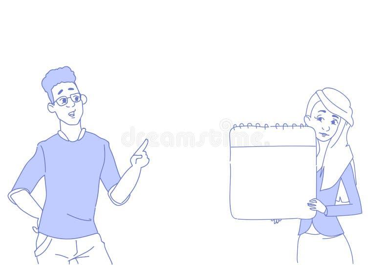 Affärsman som pekar affärskvinnan som rymmer den tomma konferensen för begrepp för presentation för par för notepad för kopiering royaltyfri illustrationer