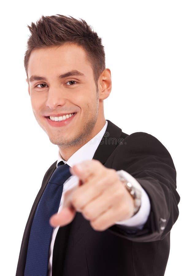 affärsman som pekar barn arkivfoton