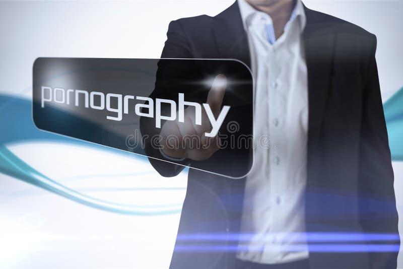 Affärsman som pekar för att uttrycka pornografi arkivbilder