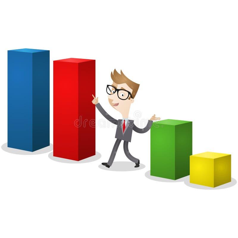 Affärsman som pekar på det färgrika stångdiagrammet stock illustrationer