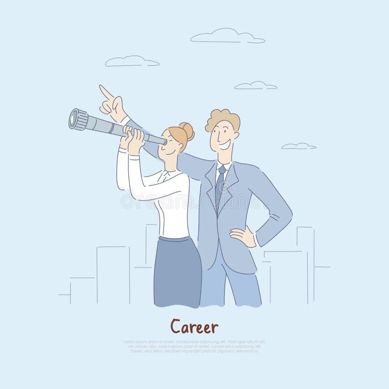 Affärsman som pekar på himmel, affärskvinna som ser in i teleskopet som planerar för den framtida metaforen, arbetsmöjligheter royaltyfri illustrationer
