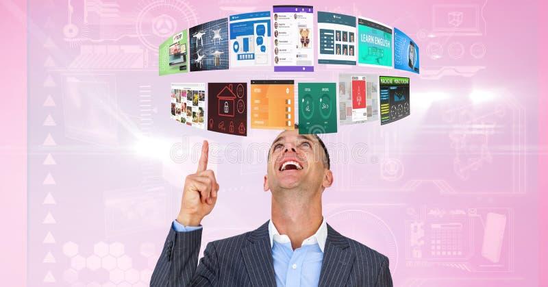 Affärsman som pekar på paneler som uppe i luften flyger royaltyfri foto