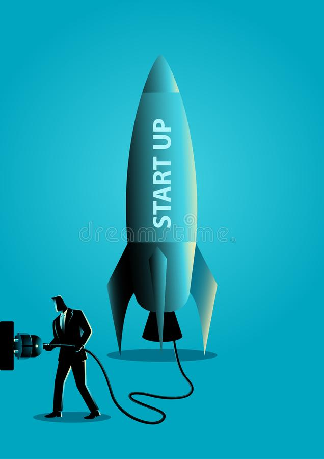 Affärsman som pluggar i en övre raket för start vektor illustrationer