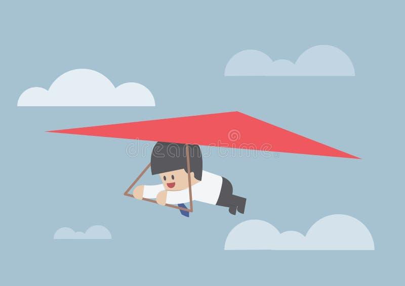 Affärsman som rider en hängningglidflygplan royaltyfri illustrationer