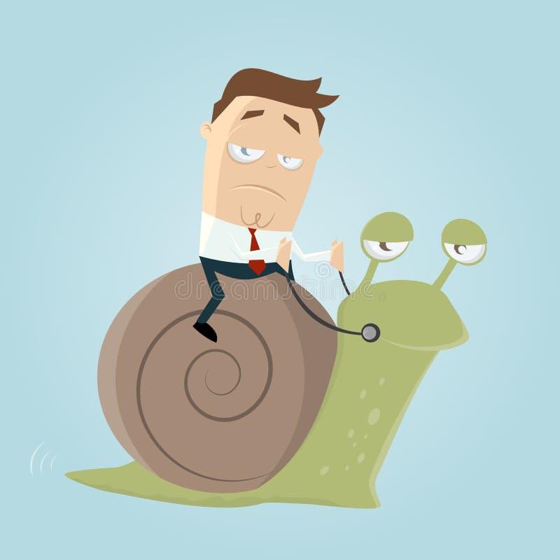 Affärsman som rider en långsam snigel stock illustrationer