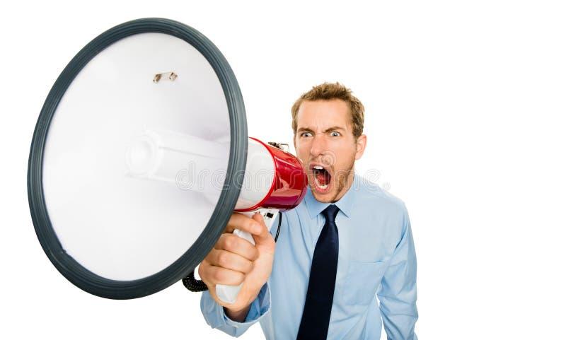 Affärsman som ropar megafonen som isoleras på vit bakgrund royaltyfri foto