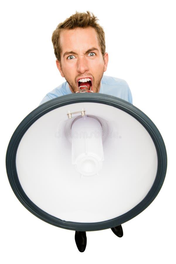 Affärsman som ropar megafonen som isoleras på vit bakgrund arkivbild