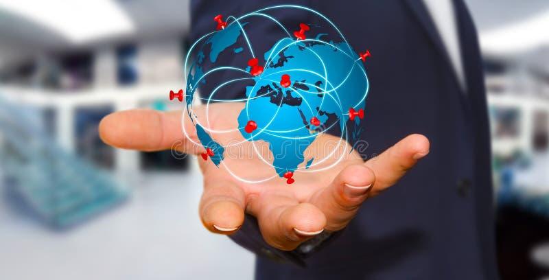 Affärsman som rymmer den digitala världskartan i hans händer royaltyfri illustrationer