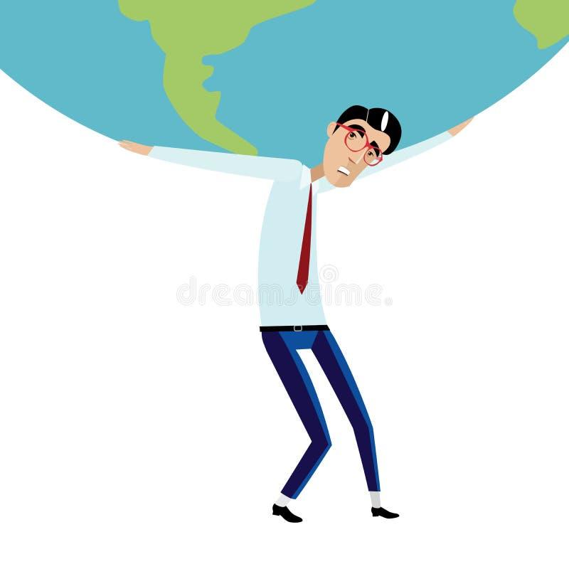 Affärsman som rymmer det stora jordklotet över huvudet stock illustrationer