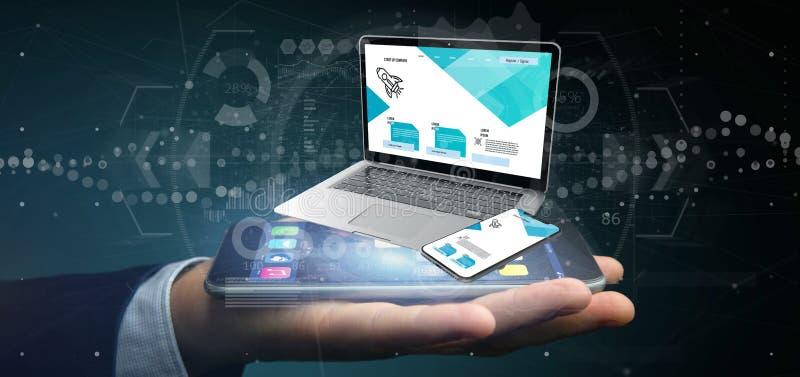 Affärsman som rymmer en bärbar dator och en smartphone - tolkning 3d arkivfoto