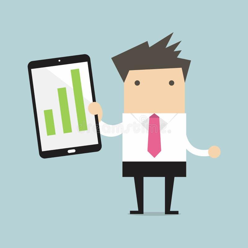 Affärsman som rymmer en minnestavla med den växande grafen stock illustrationer