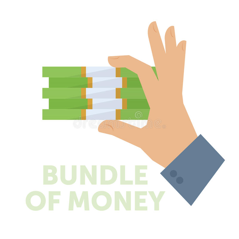 Affärsman som rymmer en packe av pengar royaltyfri illustrationer