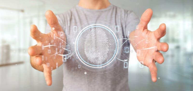 Affärsman som rymmer en tolkning för Digital fingeravtryckID och för binär kod 3d vektor illustrationer