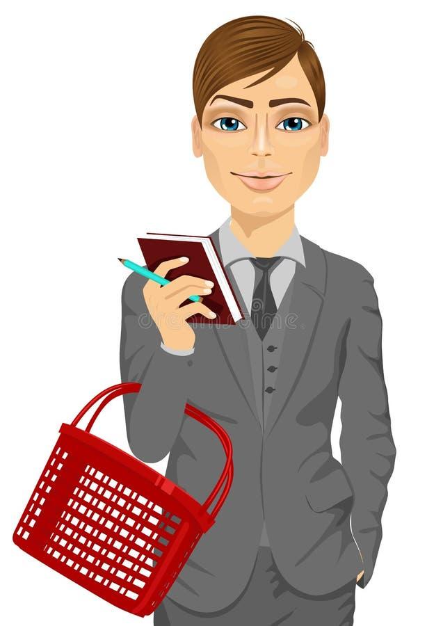 Affärsman som rymmer en tom shoppingkorg vektor illustrationer