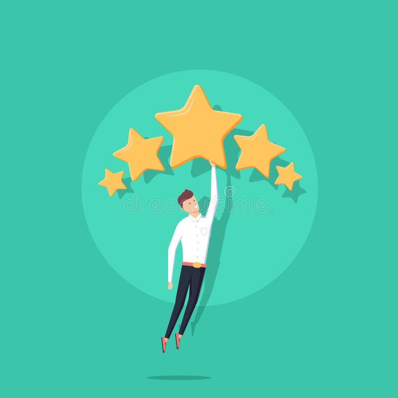 Affärsman som rymmer fem guld- stjärnor för att klassa, kvalitet och affärsidé Vektor illustration, lägenhet stock illustrationer