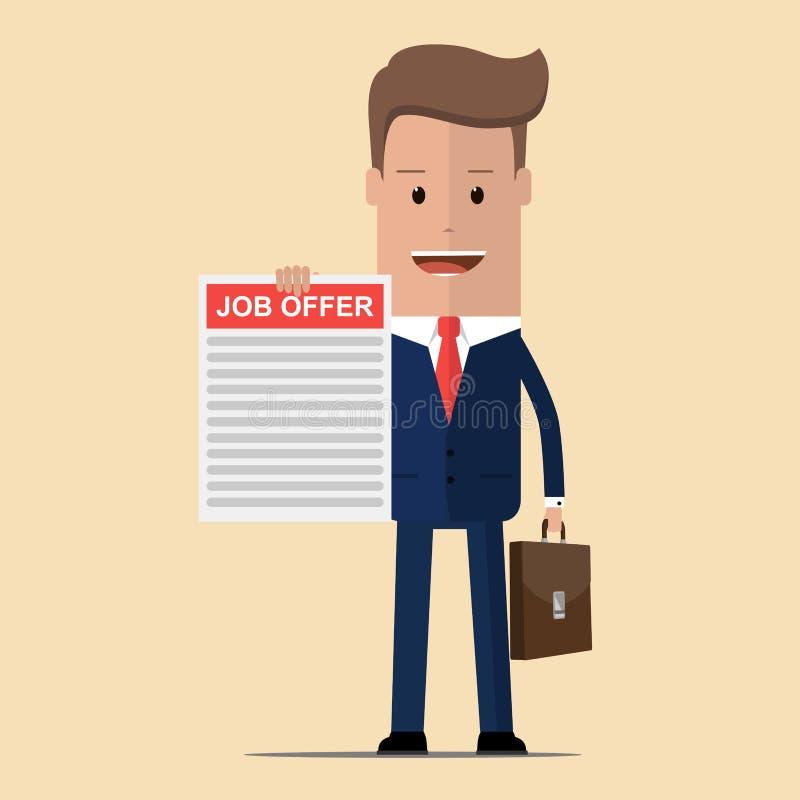 Affärsman som rymmer i hand ett jobberbjudande Rekryteringbegrepp Sökande för anställd, kollegor också vektor för coreldrawillust vektor illustrationer