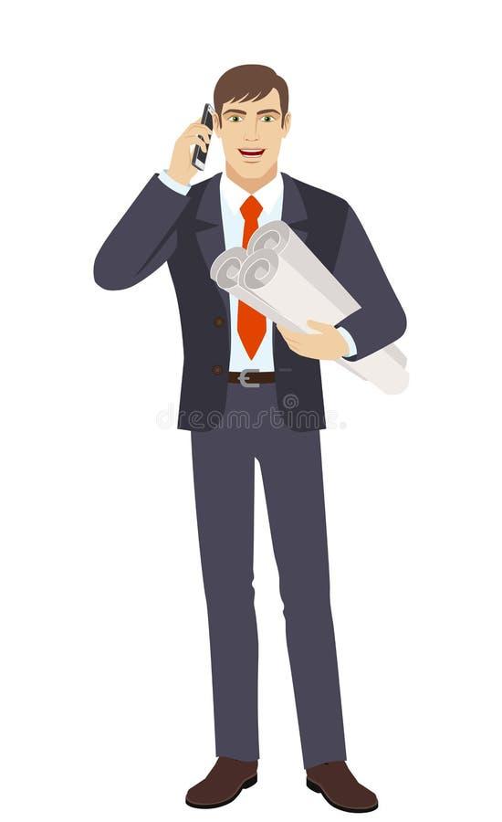Affärsman som rymmer projektplanen och talar på mobilen royaltyfri illustrationer