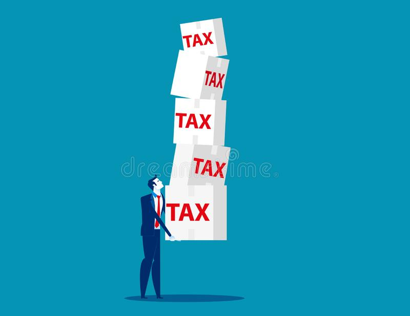 Affärsman som rymmer skatt Illustration för begreppsaffärsvektor, skuld, lån stock illustrationer
