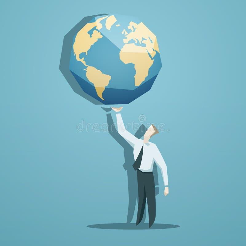 Affärsman som rymmer världen i hans händer vektor illustrationer