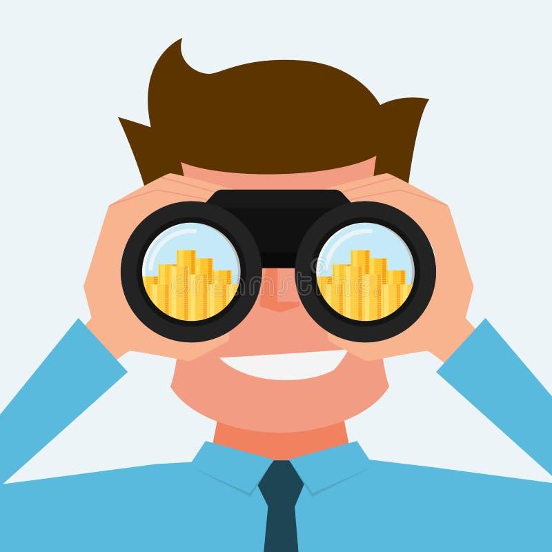 Affärsman som söker efter pengar Vision- och investeringbegrepp royaltyfri illustrationer