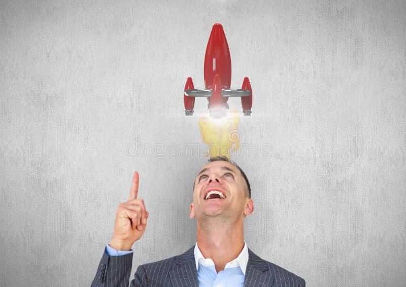Affärsman som ser den över huvudet raket stock illustrationer