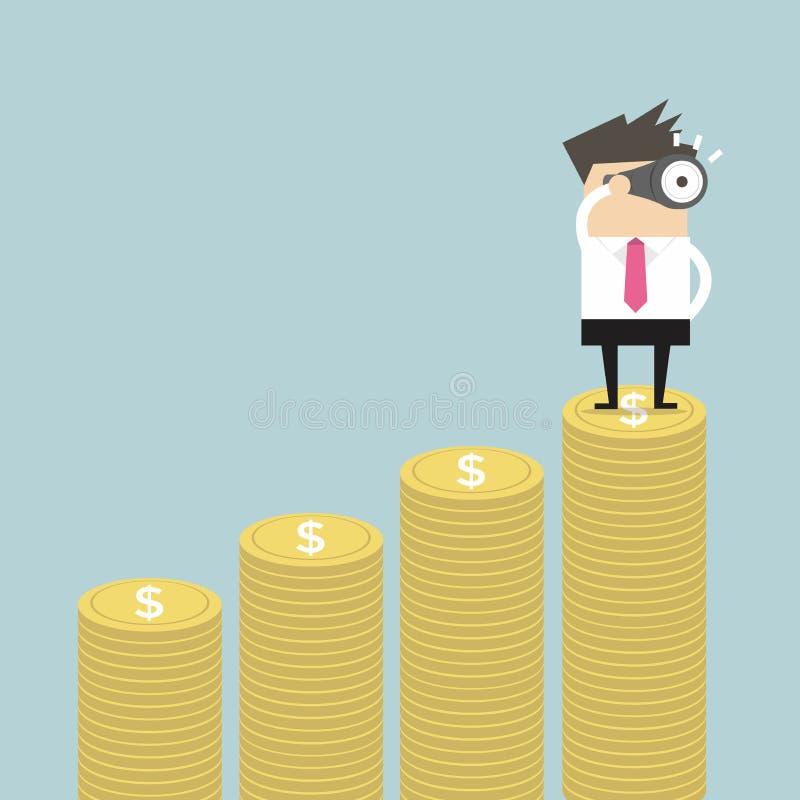 Affärsman som ser framtida på pengargraf stock illustrationer