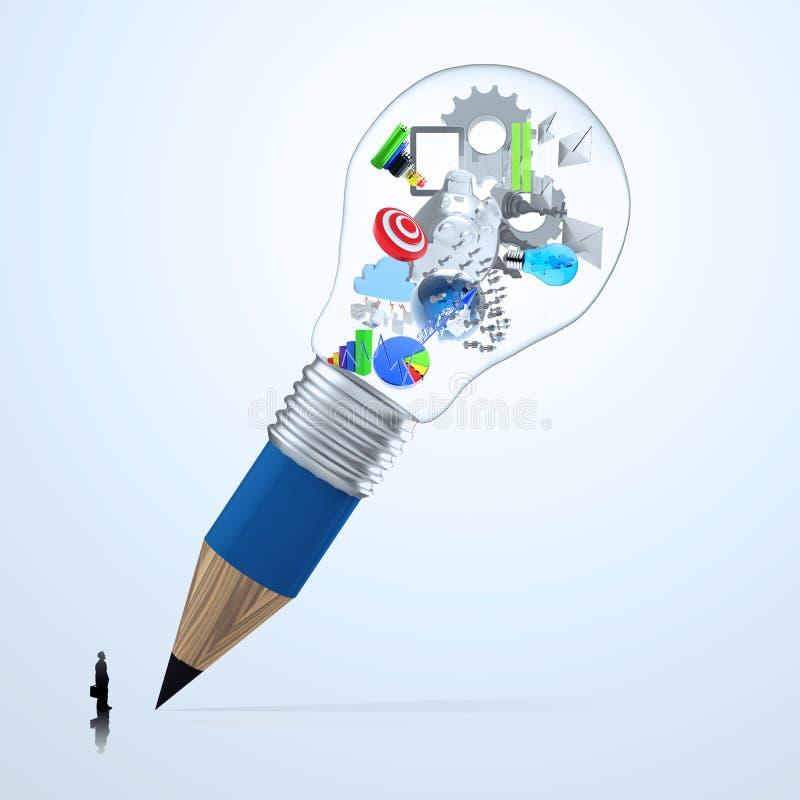 Affärsman som ser jorden inom lightbulben för blyertspenna 3d stock illustrationer
