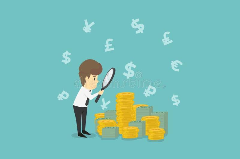 Affärsman som ser på dollar till och med förstoringsglaset Affär royaltyfri illustrationer