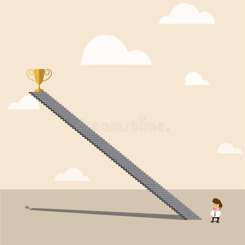 Affärsman som ser till höjdpunkten upp den guld- trofén av till stock illustrationer