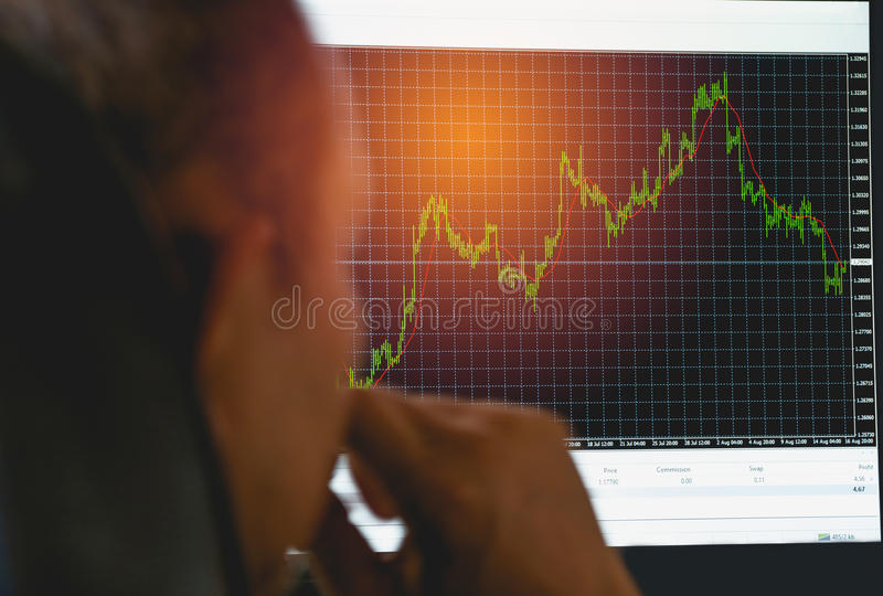 Affärsman som ser till indikatorgraf- och volymstången arkivbilder