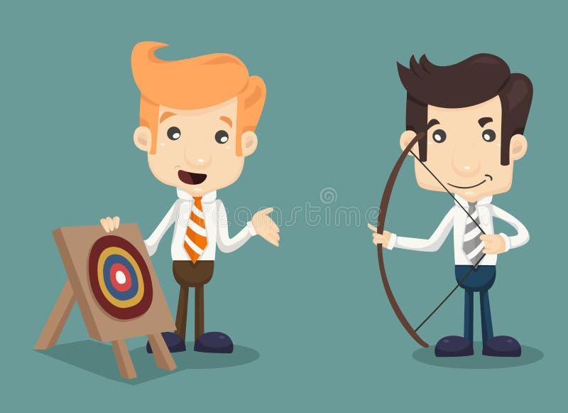 Affärsman som siktar på målet med pilbågen och pilen stock illustrationer