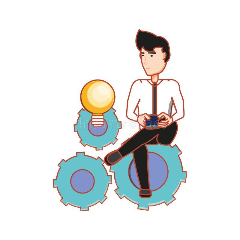 Affärsman som sitter i kulaljus och kugghjulmaskineri vektor illustrationer